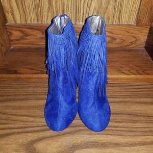 Michael Antonio blue fridge high heels booties